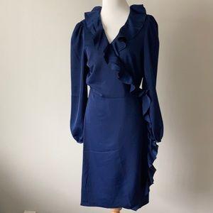 NWT Avec Les Filles Blue Satin Wrap Dress Med